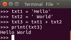 Micropython REPL example of a simple text join